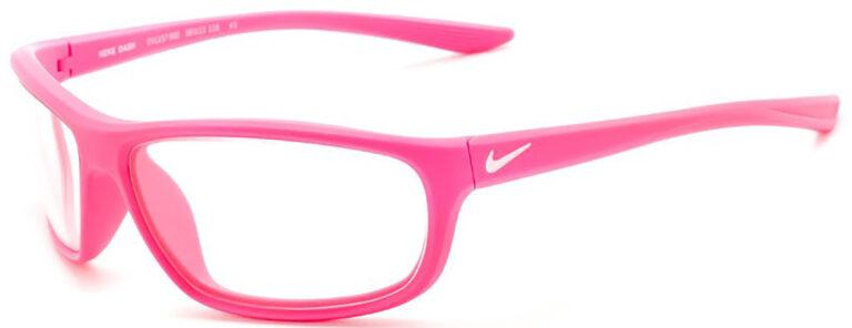 Nike Dash Radiation Glasses in Matte Laser Fuchsia Frame Side Left Angle