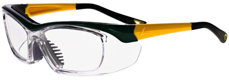 OnGuard 220S Medical Prescription Safety Glasses in Green Yellow Frame with Clear Lens in Side Left Angle