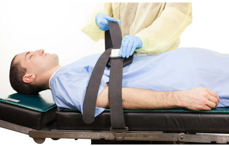 Padded Rubber Patient Restraint Strap with Buckles and Hooks in Action